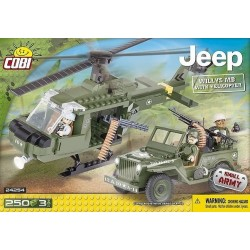 Small Army Jeep Willys MB z helikopterem